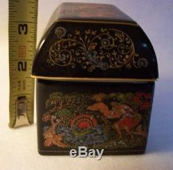 Vintage Palekh Russain Hand Painted Square Covered Trinket Box 1989 4 X 3 1/2