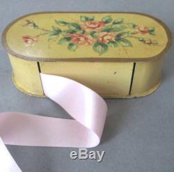 Vintage Petite French TOLE Hand Painted STAMP Box PINK ROSES Ribbon Dispenser