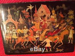 Vintage Russian Lacquer Box 1980 USSR Palekh Hand Painted & Signed by Artist