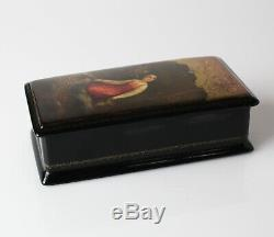 Vintage Russian Lacquer Box, Fedoskino /. Hand painted maid and bird
