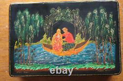Vintage Russian Lacquer Trinket Box PALEKH Hand Painted Russia 1977