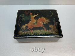 Vintage Russian Palekh Lacquered Box, Hand-painted, Signed
