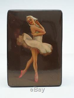 Vintage Signed Fedoskino Russsian lacquer Box BALLERINA Hand Painted