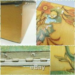 Vintage Wooden Lap Desk Writing Slope Paper Mache Hand Painted Peacock Bird Box