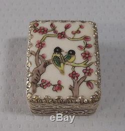 Vintage silver tone pill box hand painted Birds with mirror late 1900 u