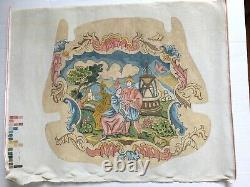 Vtg 80s Kell's Corner Paris Hand painted 3-pc Needlepoint Canvas Armchair Cover
