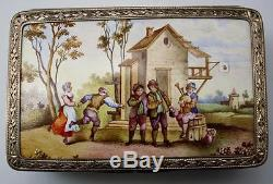 Vtg French Miniature Silver Mounted Guilloche Enamel Hand Painted Dresser Box