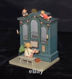 Wendt Kuhn Erzgebirge Expertic Hand Painted Wooden Organ Music Box with Organist