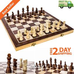 Wooden Chess Game Set Large 15 Wood Board Folding Storage Box Hand Carved Piece