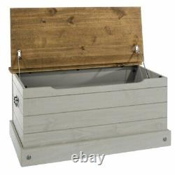 Wooden Storage Trunk Rustic Farmhouse Antique Decor End Of Bed Blanket Chest Box