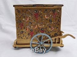 ZIMBALIST BRASS HAND PAINTED ENAMELED STREET ORGAN withTHORENS 28 NOTE MUSIC BOX